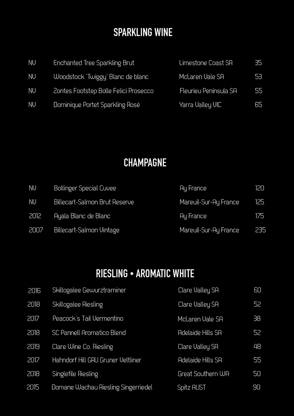 Spice Bar Wine List White Page 2