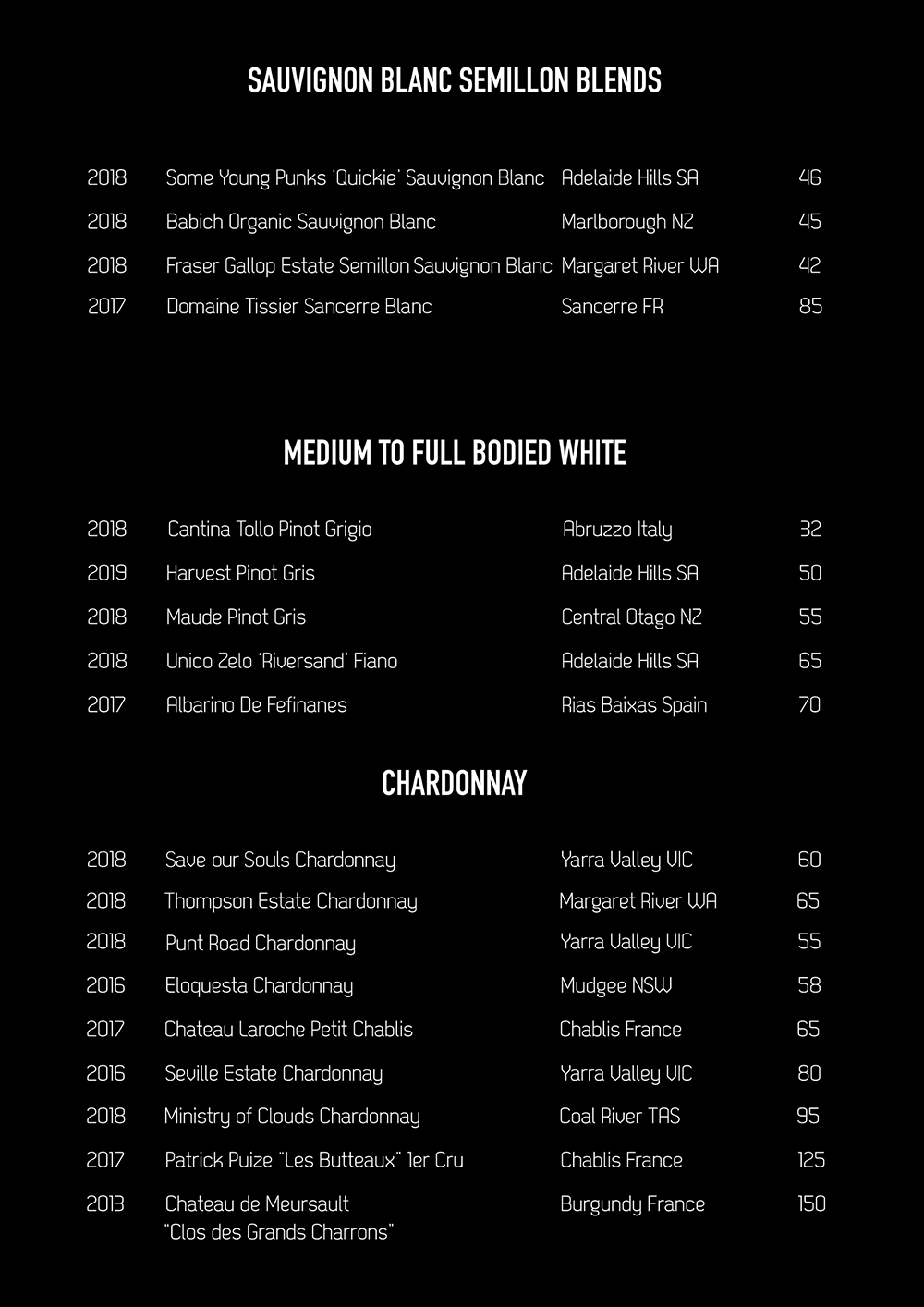 Spice Bar Wine List White Page 3